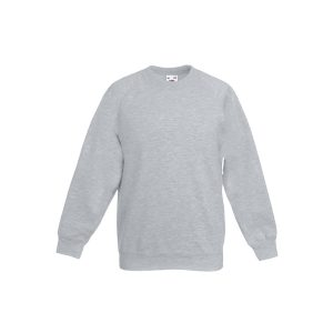 Реглан детский Fruit of the Loom Kids Classic Raglan Sweat  Heather Grey 7-8 Yrs