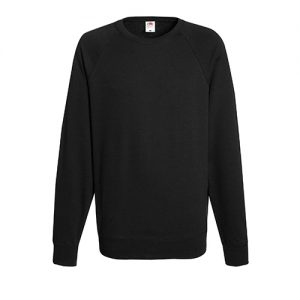 Реглан Fruit of the Loom Lightweight Raglan Sweat Black 2XL